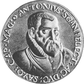 Antonio Scandello (1517 – 1580) auf einer Medaille von Tobias Wolff | Bildquelle: Wikimedia Commons – Creative Commons Lizenz: CC BY-SA 3.0 [https://creativecommons.org/licenses/by-sa/3.0/deed.de]