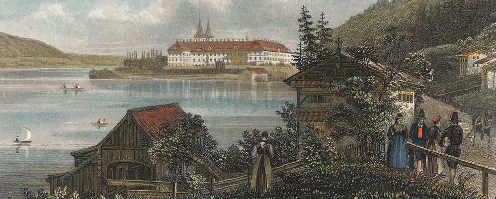 The Benedictine abbey of Tegernsee on a coloured steel engraving by Henry Winkles around 1840 | © BSB/ Image archive