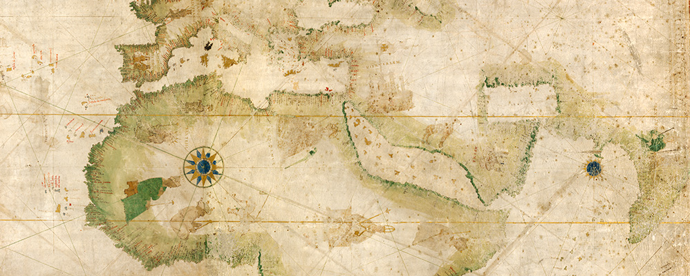 Portolan chart (hand-drawn nautical map, world map, detail). Italy?, 1502 – 1506 | © BSB/ Cod.icon. 133