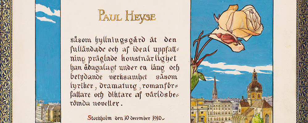 Nobel Prize of Literature for Paul Heyse (detail) | © BSB/ Heyse-Archiv V.105