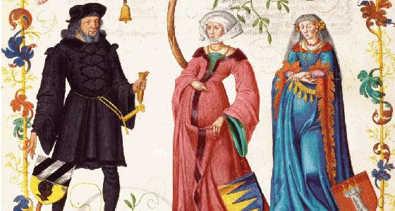 Hans VI. Tucher mit Barbara Ebner und Ursula Harsdörffer, Miniatur im Großen Tucherbuch, 1590 – 1606 | © Stadtarchiv Nürnberg/Inventarnummer: E29/III, 258, fol. 74r